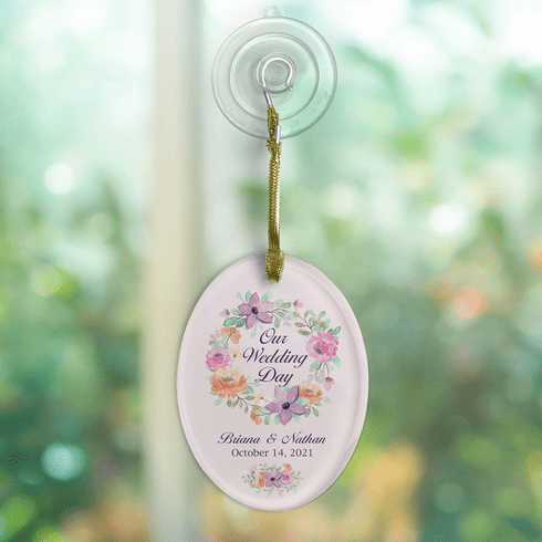 Personalized Our Wedding Day Jade Glass Oval Ornament With Suction Cup