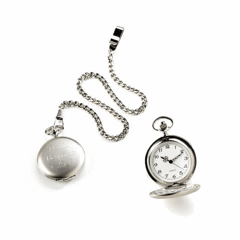 Personalized Pocket Watch - Brushed Silver