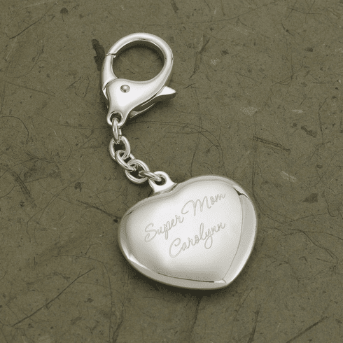 Personalized Silver Plated Heart Keychain