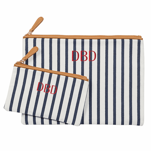 Personalized Striped Clutch Set