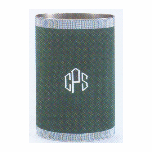 Personalized Suedecloth Covered Metal Oval Waste Can