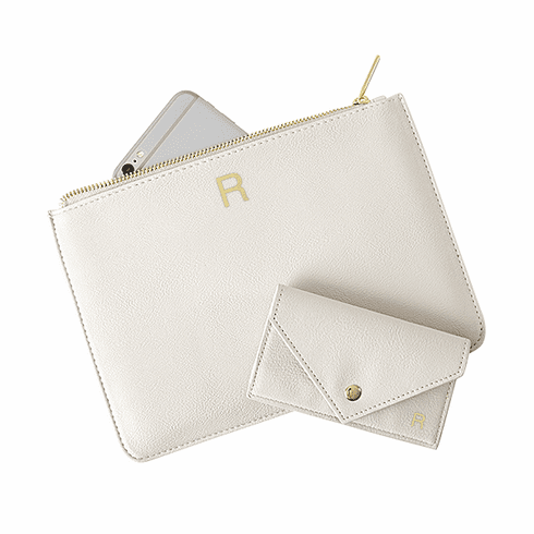 Personalized Vegan Leather Clutch and Envelope Wallet Set