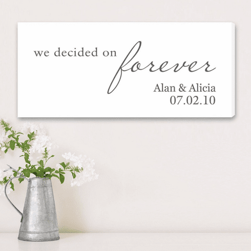 Personalized We Decided on Forever Wedding Canvas Print