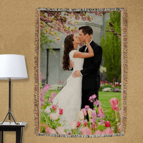 Personalized Wedding Photo Tapestry Throw