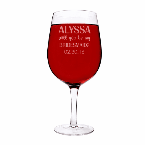 Personalized Will You Be My Matron of Honor? 25 oz. XL Wine Glass