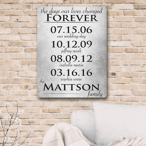 The Days Our Lives Changed Forever Personalized Canvas Print
