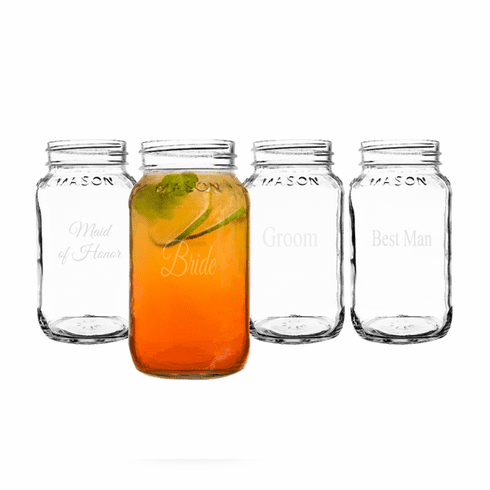 Wedding Party 26oz. Mason Jars (Set of 4)