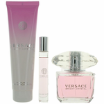 Versace Bright Crystal by Versace, 3 Piece Gift Set for Women with 3oz