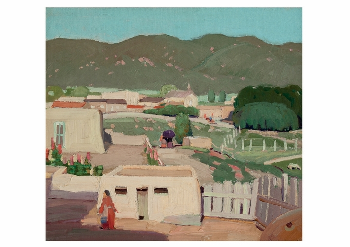 Victor Higgins: Adobe House with Woman in Red Notecard