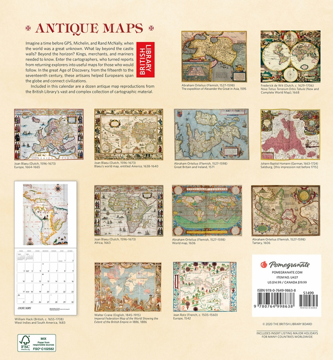Antique Maps 2021 Wall Calendar