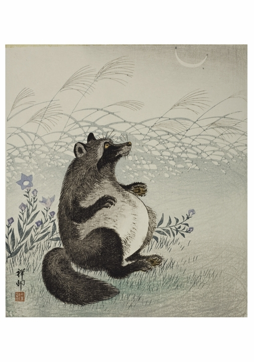 Ohara Shōson: Badger and Autumn Grasses Notecard