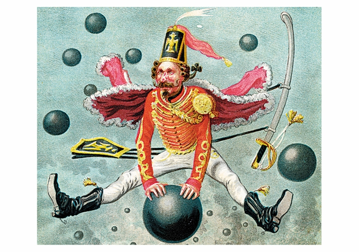Baron Munchausen Riding a Cannonball Postcard