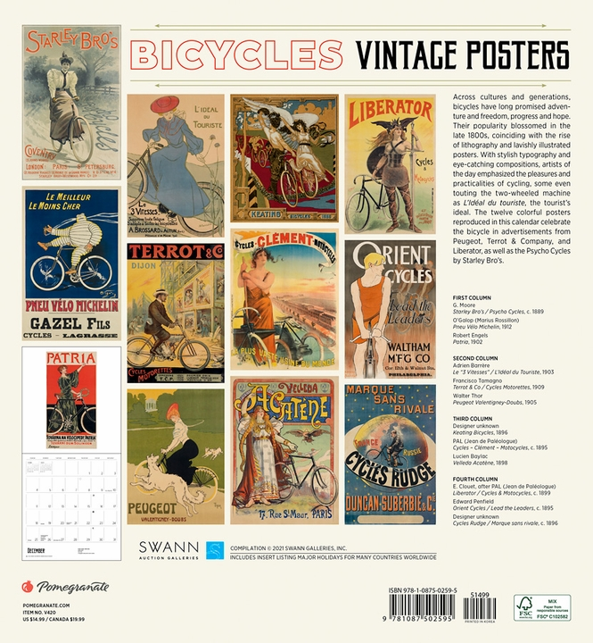 Bicycles: Vintage Posters 2022 Wall Calendar