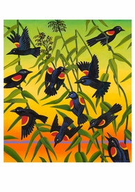 Billy Hassell: Red-Wing Blackbirds and Wild Rice Notecard