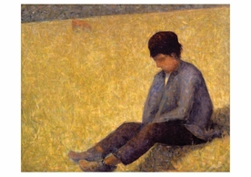 Boy Sitting in a Meadow Notecard