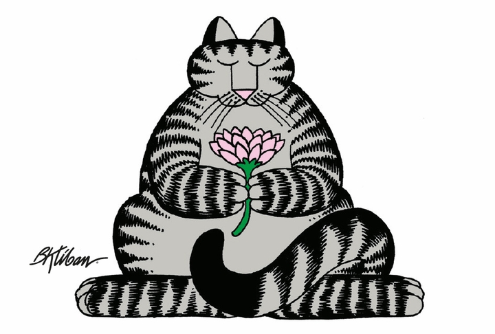 Cat With Flower Magnet