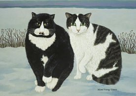 Mimi Vang Olsen: Cats: Mustache and Mama Notecard