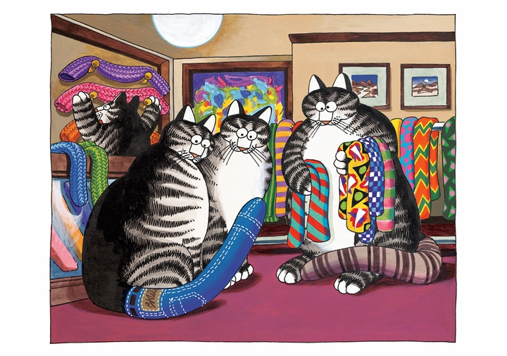 Cats Trying on Cat Tails Birthday Card