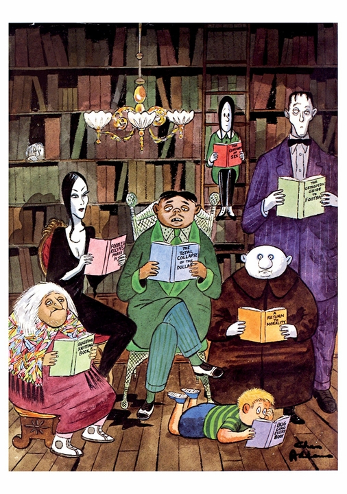 Charles Addams: The Addams Family Reading Notecard