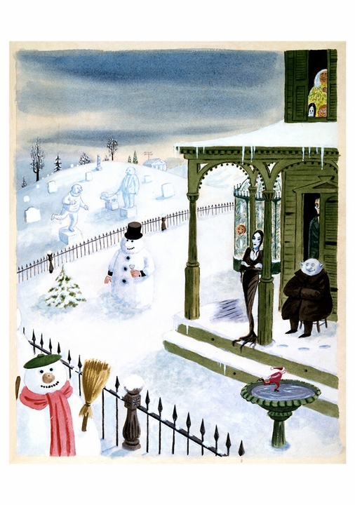 Charles Addams: The Addams Family Snowmen Holiday Cards