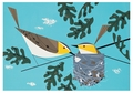 Charley Harper: Red-eyed Vireos Birthday Card