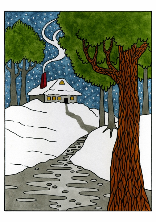 CJ Hurley: Creekside House Nestled in Snow Holiday Card