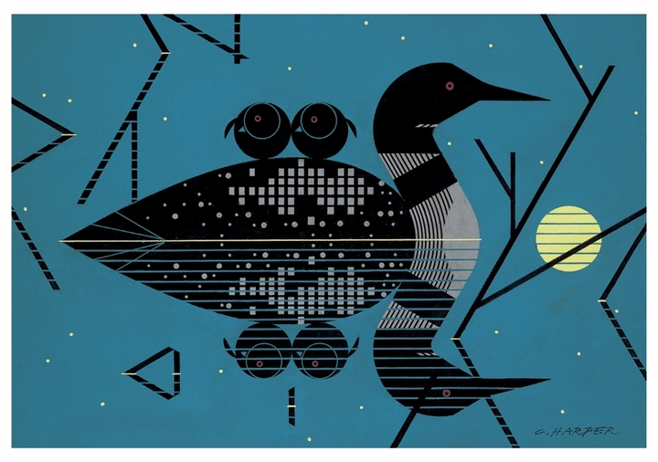 Charley Harper: Clair de Loon Notecard