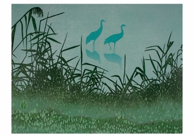 Andrea Rich: Cranes in the Mist Birthday Card