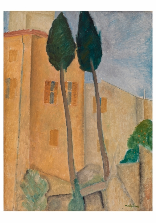 Amedeo Modigliani: Cypresses and Houses at Cagnes Notecard