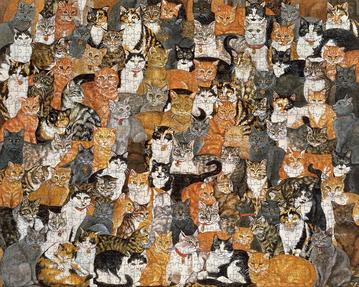 Ditz: Double Cat-Spread 1000-Piece Jigsaw Puzzle