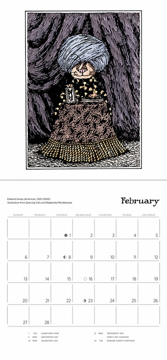 Edward Gorey: Dancing Cats 2022 Mini Wall Calendar