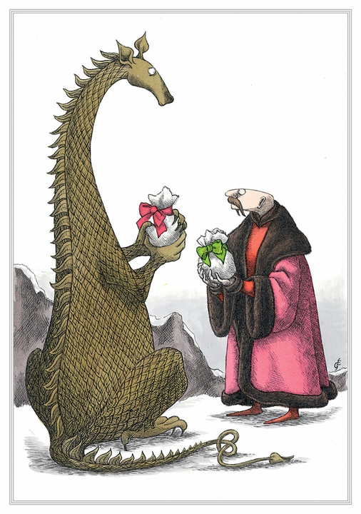 Edward Gorey: Dragon and Man Exchange Gifts Holiday Cards