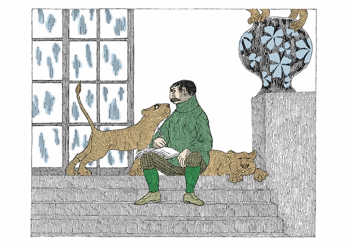 Edward Gorey: Illustration from The Lost Lions Birthday Card