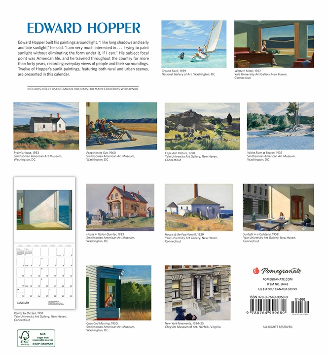 Edward Hopper 2021 Wall Calendar