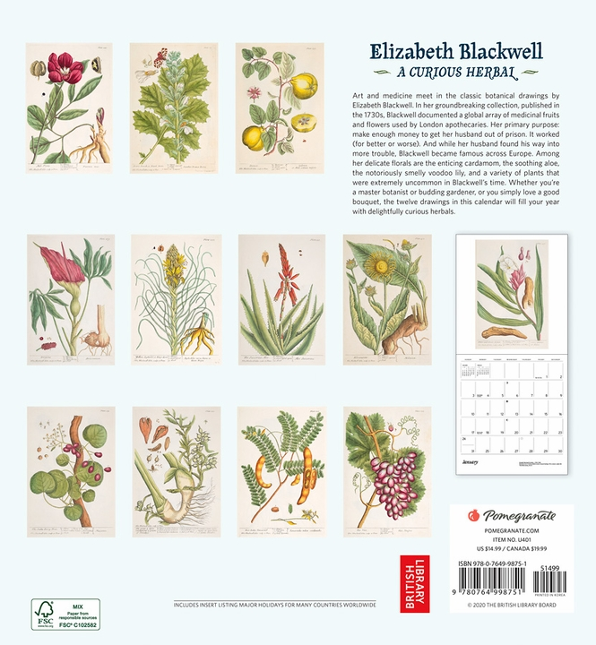 Elizabeth Blackwell: A Curious Herbal 2021 Wall Calendar