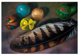 Jay Burch: Feather and Marbles Notecard