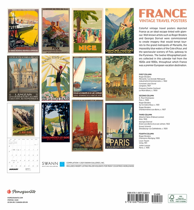 France: Vintage Travel Posters 2022 Wall Calendar