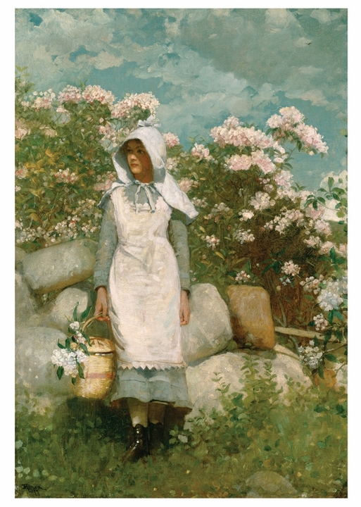 Winslow Homer: Girl and Laurel Notecard