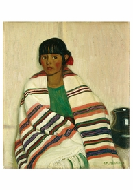 E. Martin Hennings: Girl with Blanket Notecard