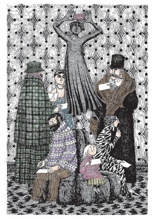 Edward Gorey: Group on Sofa Notecard
