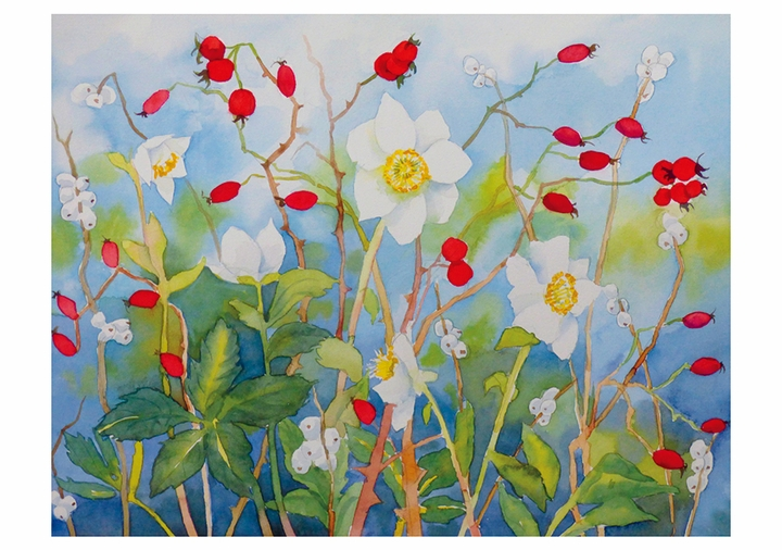 Hellebore, Rosehips, and Snowberries Notecard