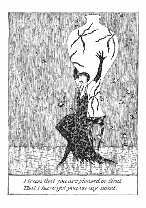 Edward Gorey: I Trust That You Are Pleased to Find Notecard