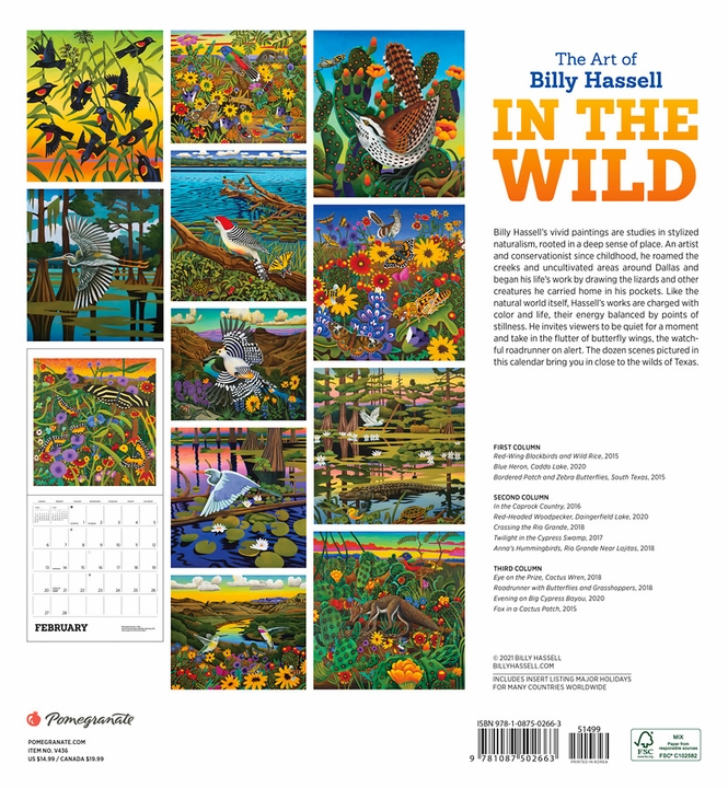 In the Wild: The Art of Billy Hassell 2022 Wall Calendar