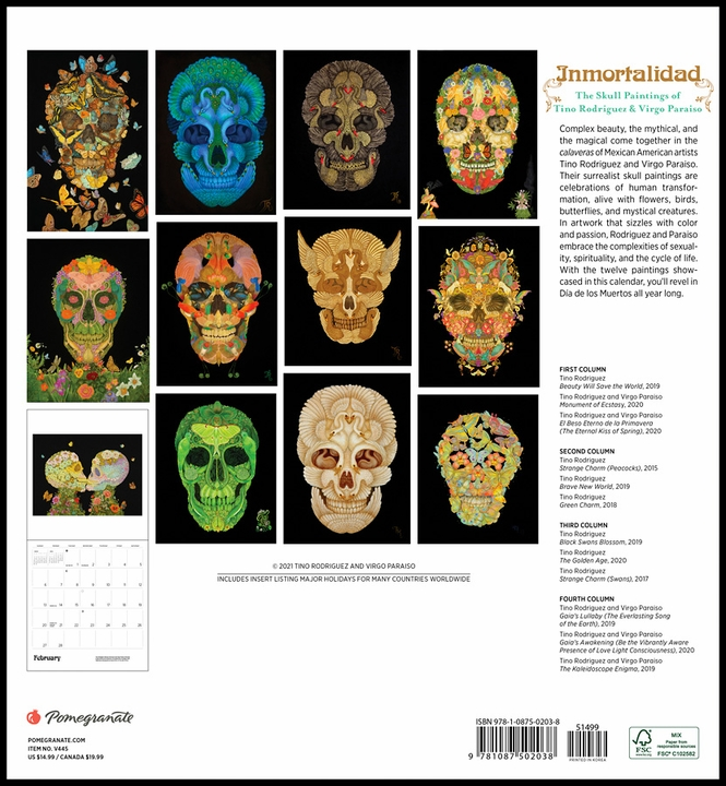 Inmortalidad: The Skull Paintings of Tino Rodriguez and Virgo Paraiso 2022 Wall Calendar