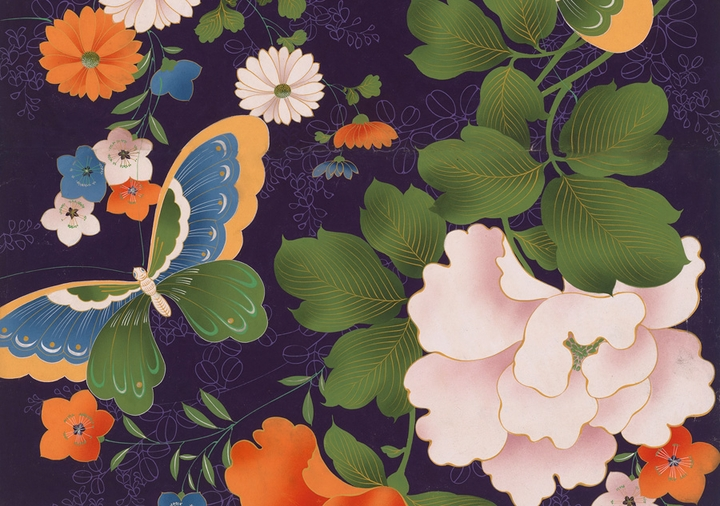 Japanese Decorative Design: Butterfly and Flowers Birthday Card