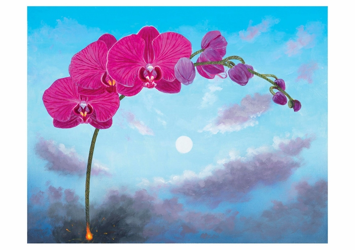 L. C. Armstrong: Flowers on a Fuse Phalaenopsis Notecard