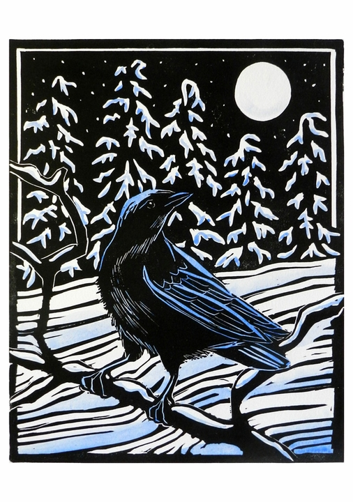 Molly Hashimoto: Crow and Moon Holiday Cards