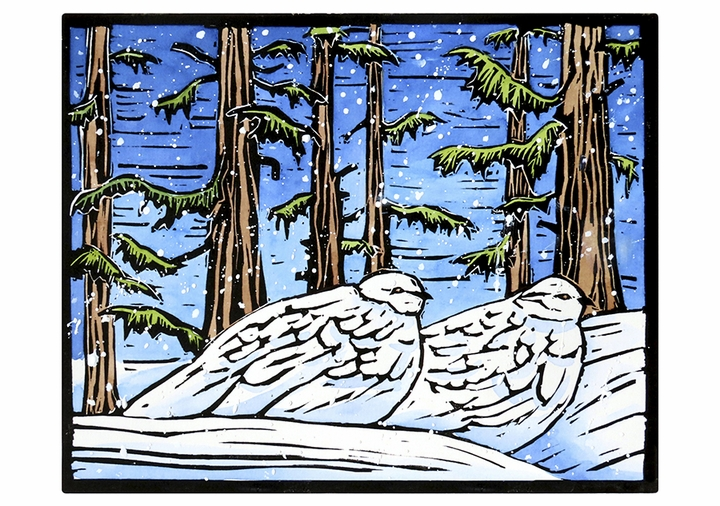 Molly Hashimoto: Ptarmigan Pair in the Snow Holiday Cards