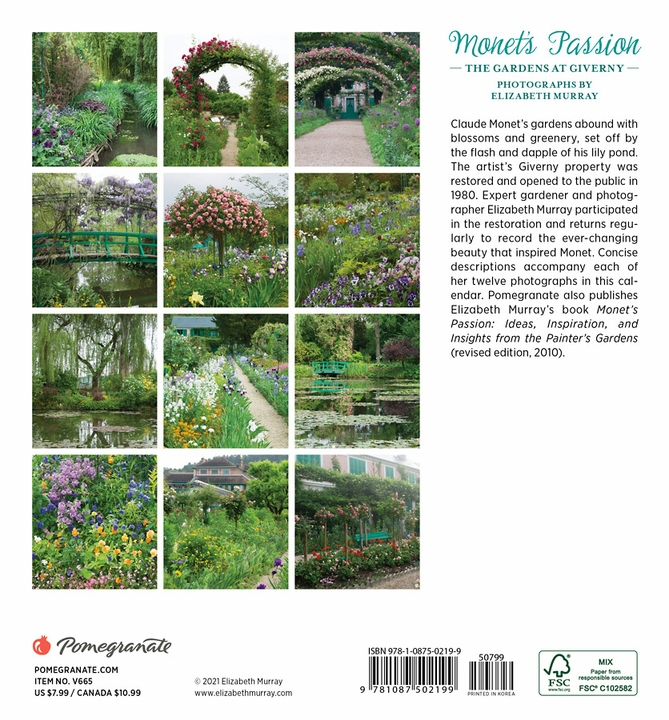 Monet's Passion: The Gardens at Giverny 2022 Mini Wall Calendar