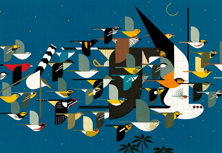Charley Harper: Mystery of the Missing Migrants 1000-piece Jigsaw Puzzle